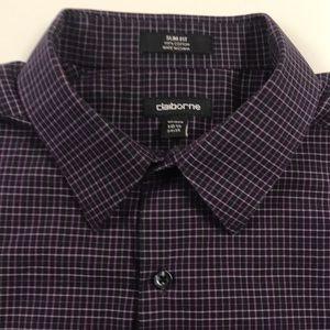 CLAIBORNE Purple Oxford Dress Shirt Mens Large